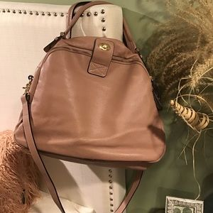 Orelia Pinky/Blush Leather Satchel w long strap